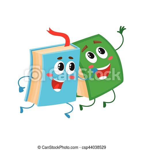 Funny book character running with bookmark ribbon visible - csp44038529