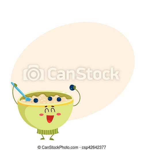 Funny bowl of cereal, corn flakes, oatmeal porridge character - csp42642377