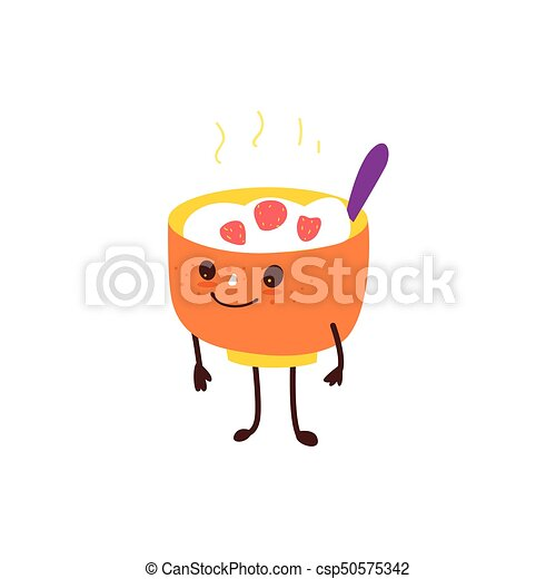 Funny bowl of hot oatmeal, rice porridge character - csp50575342
