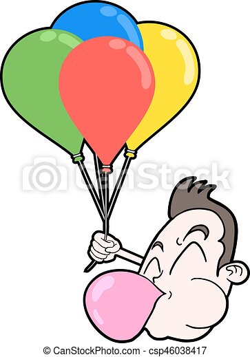 funny boy face with color balloons - csp46038417
