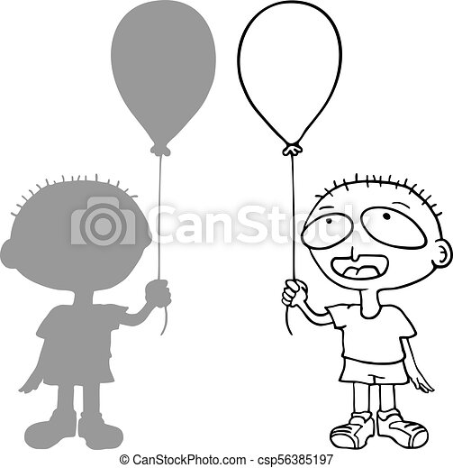 funny boy with balloon - csp56385197