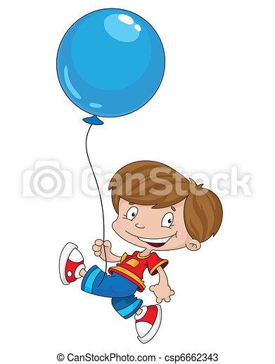 funny boy with balloon - csp6662343