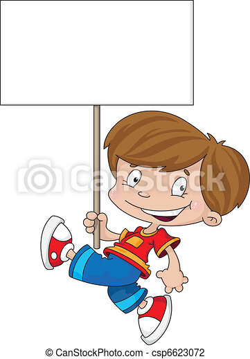 funny boy with blank sign - csp6623072