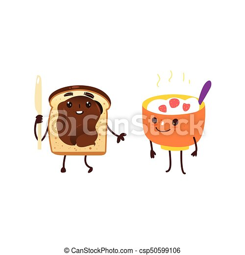 Funny breakfast characters - oatmeal and toast - csp50599106