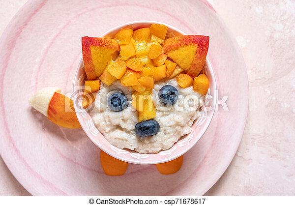 Funny Breakfast For Kids Oatmeal Porridge. - csp71678617