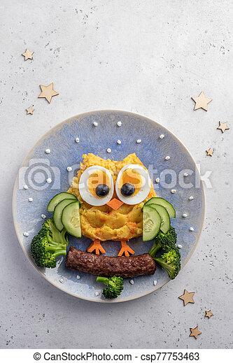 Funny Breakfast For Kids Oatmeal Porridge. - csp77753463