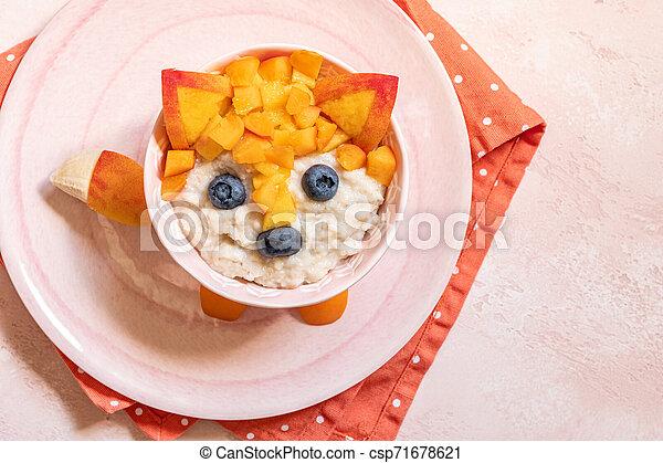Funny Breakfast For Kids Oatmeal Porridge. - csp71678621