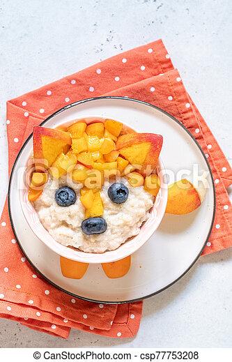 Funny Breakfast For Kids Oatmeal Porridge. - csp77753208