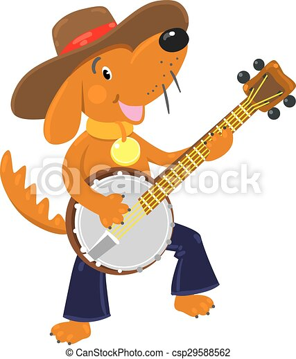 Funny brown dog plays the banjo - csp29588562