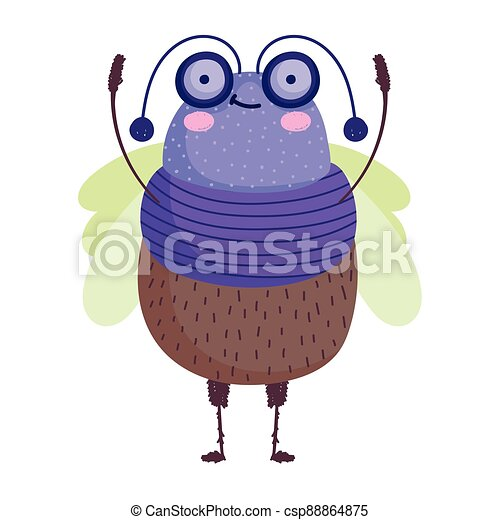 funny bug icon cartoon in isolated style - csp88864875