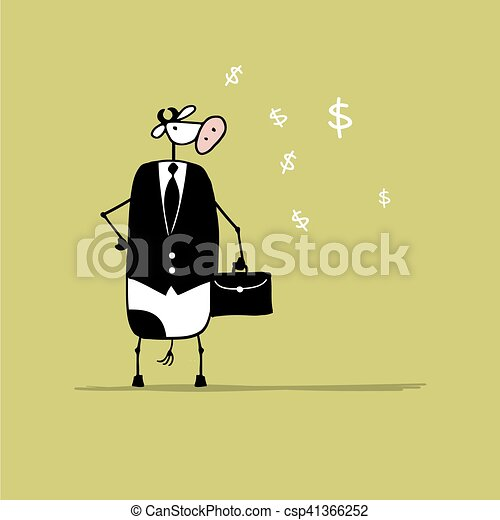 Funny bull businessman with suitcase, sketch - csp41366252