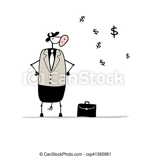 Funny bull businessman with suitcase, sketch - csp41365981