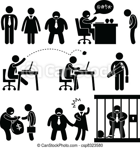 Funny Business Office Boss Icon - csp8323580