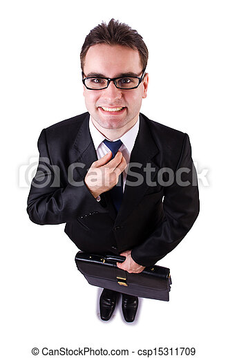 Funny businessman on white background - csp15311709