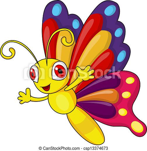 Funny butterfly cartoon  - csp13374673