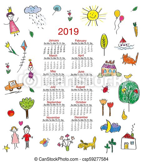 2019 Funny Calendars Funny calendar with kids drawings illustration. Funny calendar