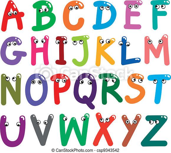 Funny Capital Letters Alphabet - csp9343542