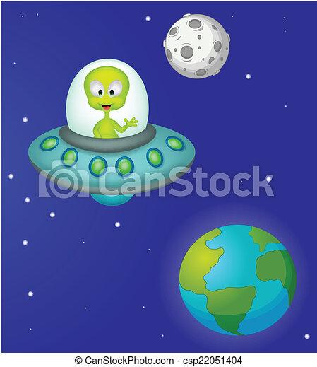 Funny cartoon alien - csp22051404