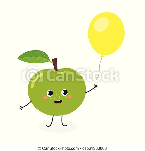 Funny cartoon apple with balloon - csp61383008