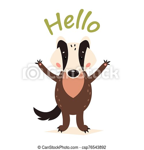Funny cartoon badger. Vector illustration on a white isolated background - csp76543892