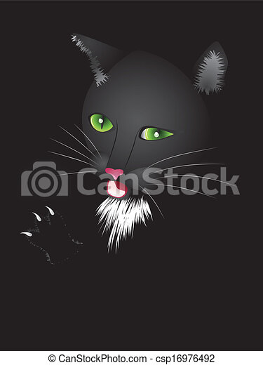 Funny cartoon black cat - csp16976492