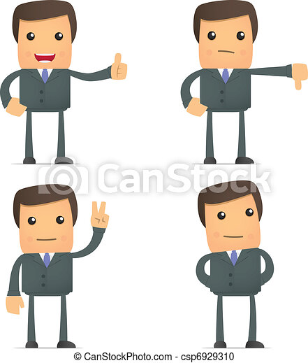 funny cartoon businessman hold thumb up and down - csp6929310