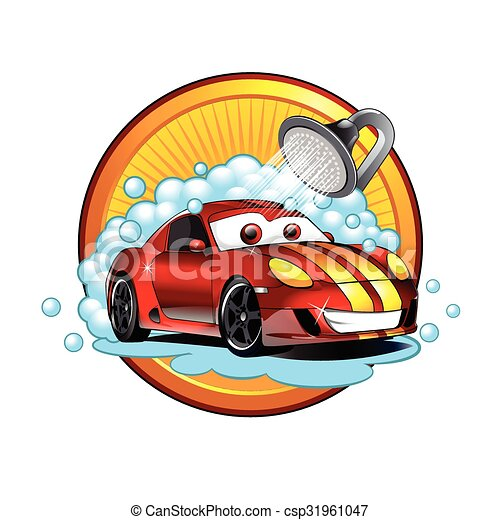 funny cartoon car wash auto cleaner washer shower service eps vector rh canstockphoto com car wash vector background car wash vector background