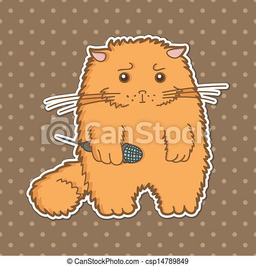 funny cartoon cat - csp14789849