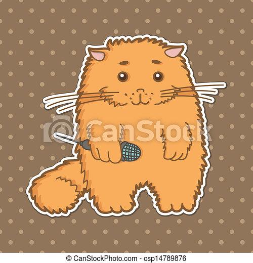 funny cartoon cat - csp14789876