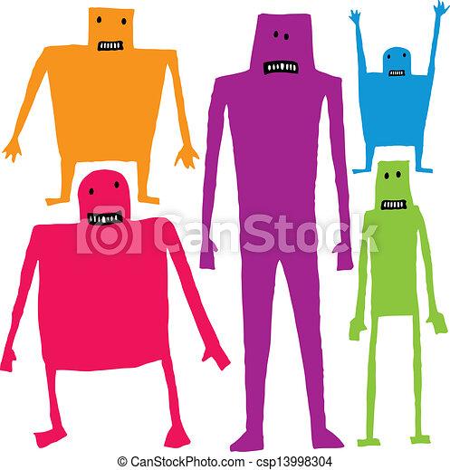 Funny cartoon characters - csp13998304