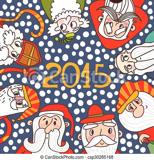 5211284fb7e95 Funny cartoon Christmas card with Santas in vector. Concept holiday  background in bright colors.