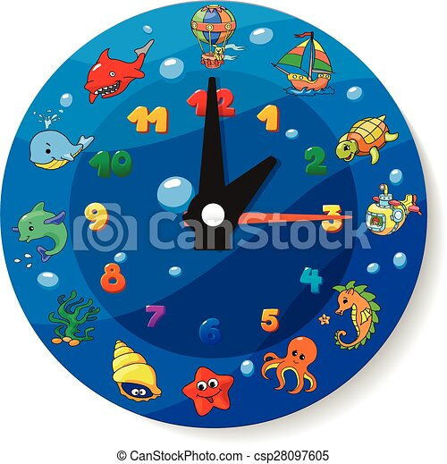 Funny cartoon clock for kids. sea animals collection vector ...