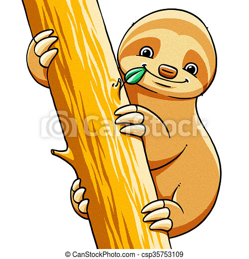 funny cartoon cute fat sloth illustration funny cartoon stock rh canstockphoto com sloth face clipart sloth clipart images