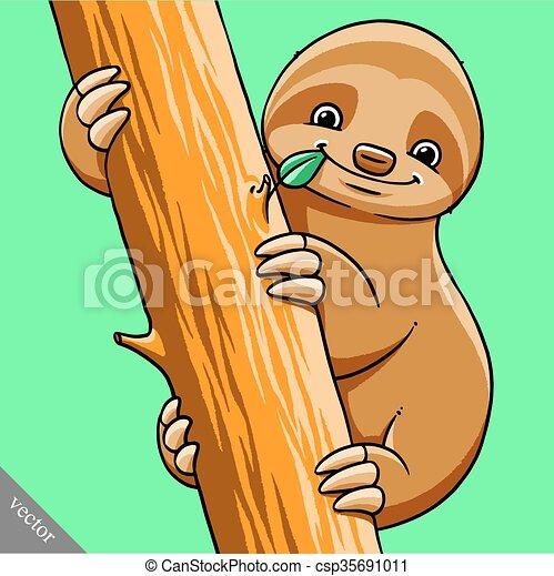 funny cartoon cute fat vector sloth illustration - csp35691011
