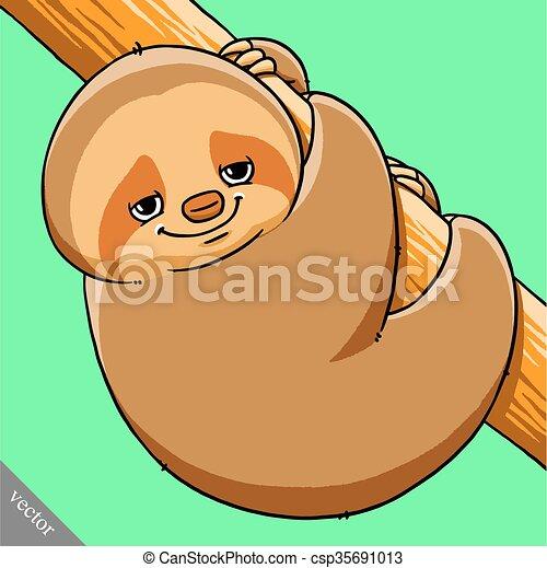 funny cartoon cute fat vector sloth illustration - csp35691013