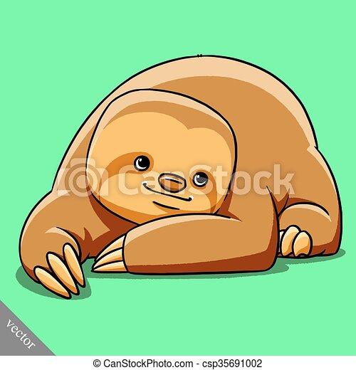 funny cartoon cute fat vector sloth illustration - csp35691002