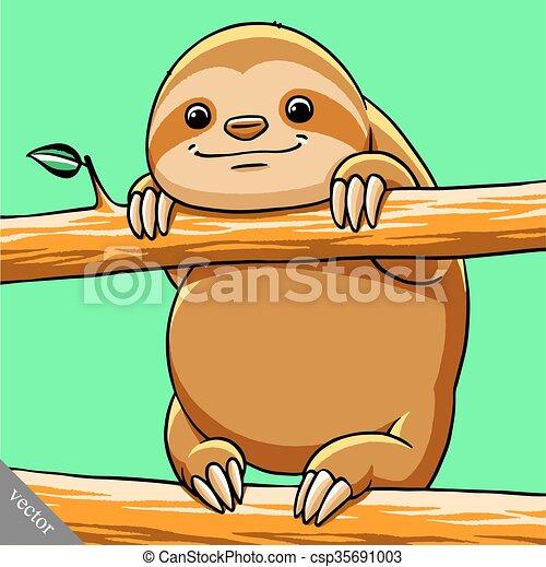 funny cartoon cute fat vector sloth illustration - csp35691003