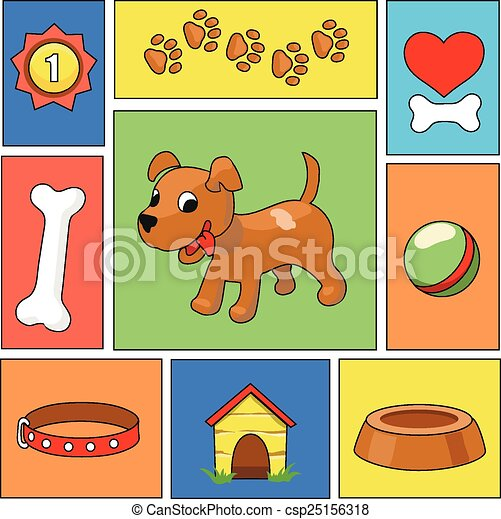 Funny cartoon dog and icons - vector illustration - csp25156318
