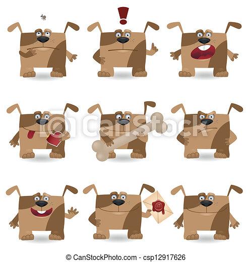 Funny cartoon dog set - csp12917626