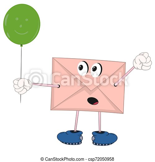 funny cartoon envelope with eyes, legs and hands holding a green balloon and rejoices - csp72050958