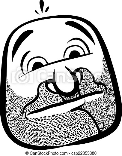 Funny cartoon face with stubble, black and white lines vector il - csp22355380