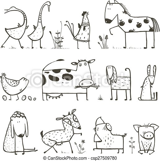 Funny Cartoon Farm Domestic Animals Collection For Kids Coloring Page