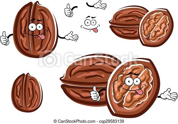 Funny cartoon isolated brown walnuts - csp29583139