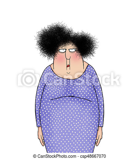 Funny Cartoon Lady With an Expression of Angry Frustration - csp48667070