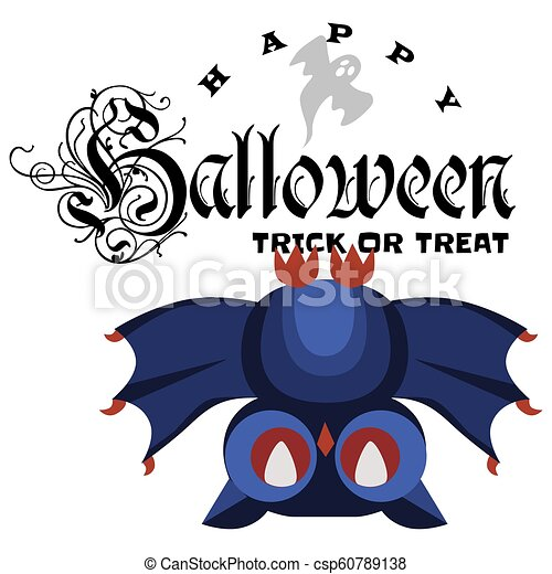 Funny cartoon logo Halloween owl flat poster vector illustration. Magic night-bird hanging upside down on tree branch with spiderweb. Horror party concept. Isolated on white. - csp60789138