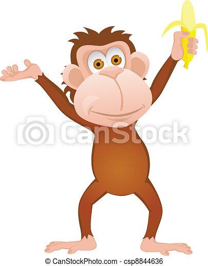 Funny cartoon monkey with banana is - csp8844636