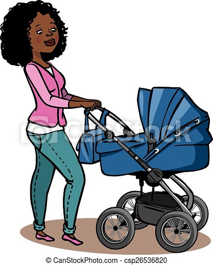 Funny cartoon mother with baby stroller. Vector illustration - csp26536820