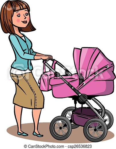 Funny cartoon mother with baby stroller. Vector illustration - csp26536823