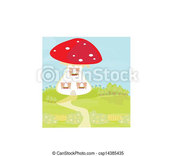 Funny Cartoon Mushroom House   Csp14385435