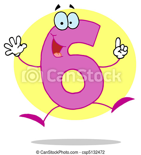 Funny cartoon numbers-6 . Friendly pink number 6 six guy. on